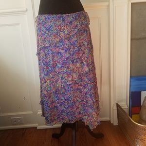MaxMara Floral Silk Midi Skirt